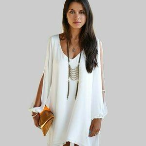 SHEER WHITE LINED OPEN LONG SLEEVE DRESS!